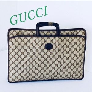 GUCCI Brown Vintage Monogram Canvas Briefcase